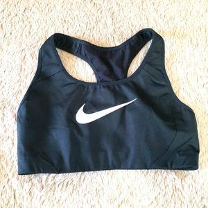 Nike black swoosh checkmark sports bra size small